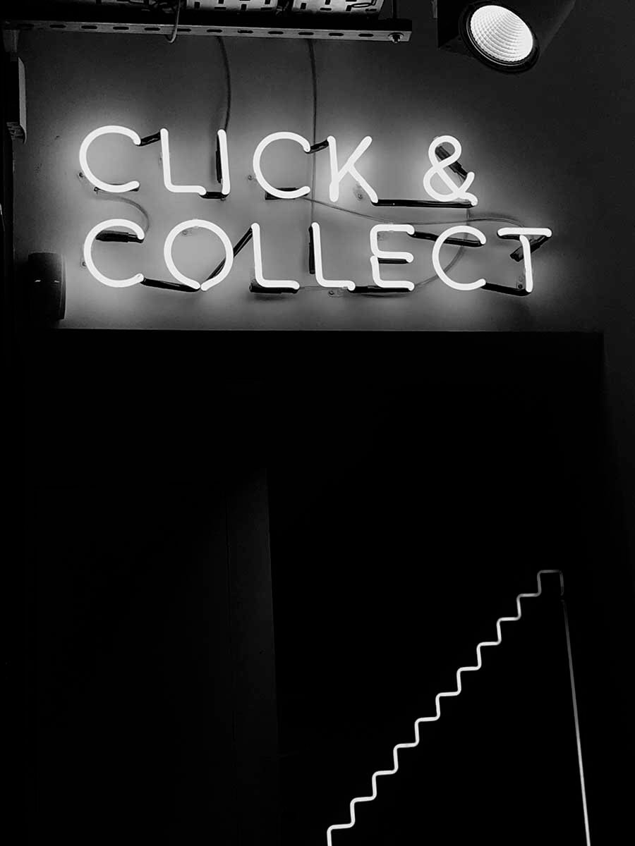 click and collect neon light sign