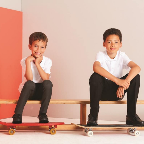 School kids on skateboards