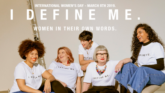 Warehouse International Womens Day campaign showing influencers wearing the I define me t-shirt