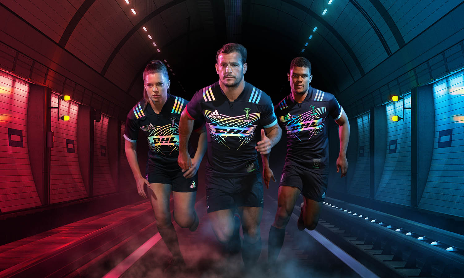 Harlequin rugby players wearing the 18/19 charity shirt in a tunnel
