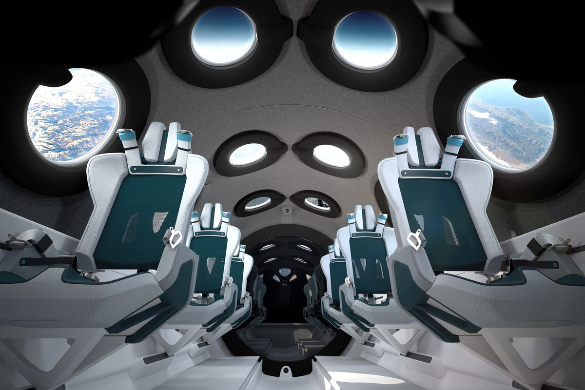 The inside of the virgin galactic cabin